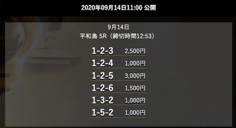 ジャックポット(JACKPOT)の無料競艇予想を検証5レース目2020年09月14日平和島05R