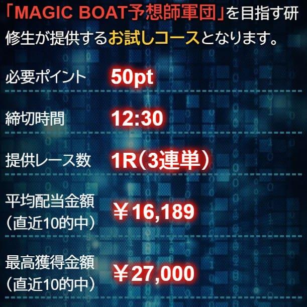 マジックボートの登録特典で有料予想に2回参加できる